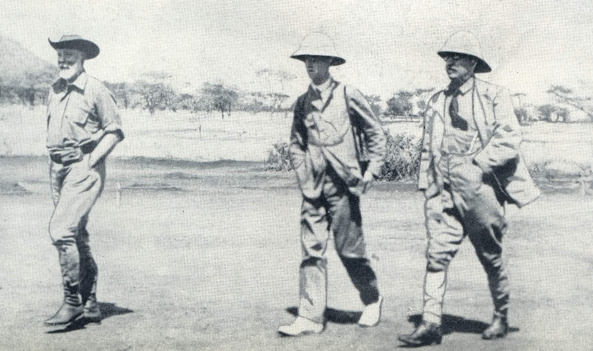 Simba Station, Uganda Railway, en route to the Kapiti Plains Theodore Roosevelt with F C Selous and Warrington Dawson